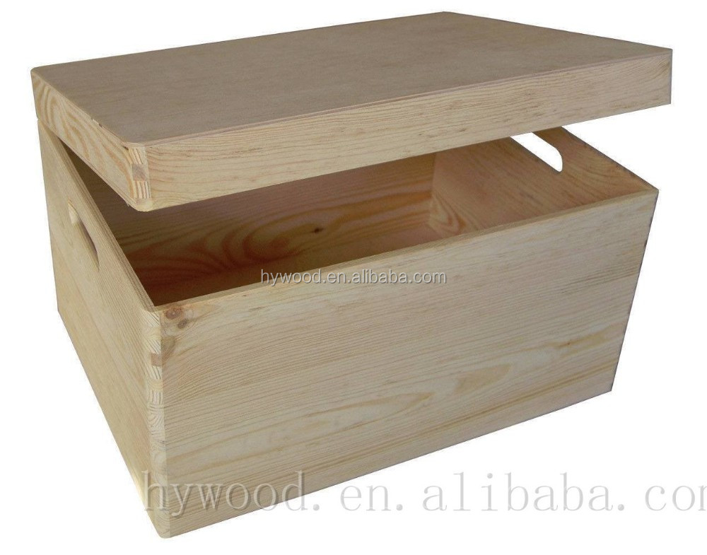 Factory price hinged lid plain rectangle square unfinished wooden treasure chest craft wholesale