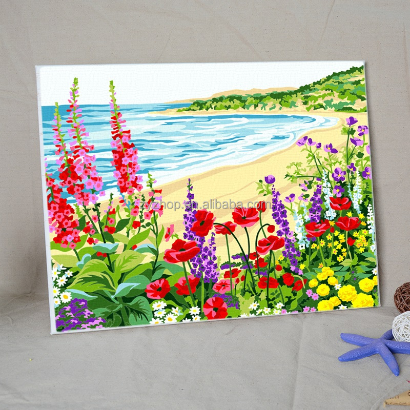 Flower and sea beautiful painting by numbers framed wooden support