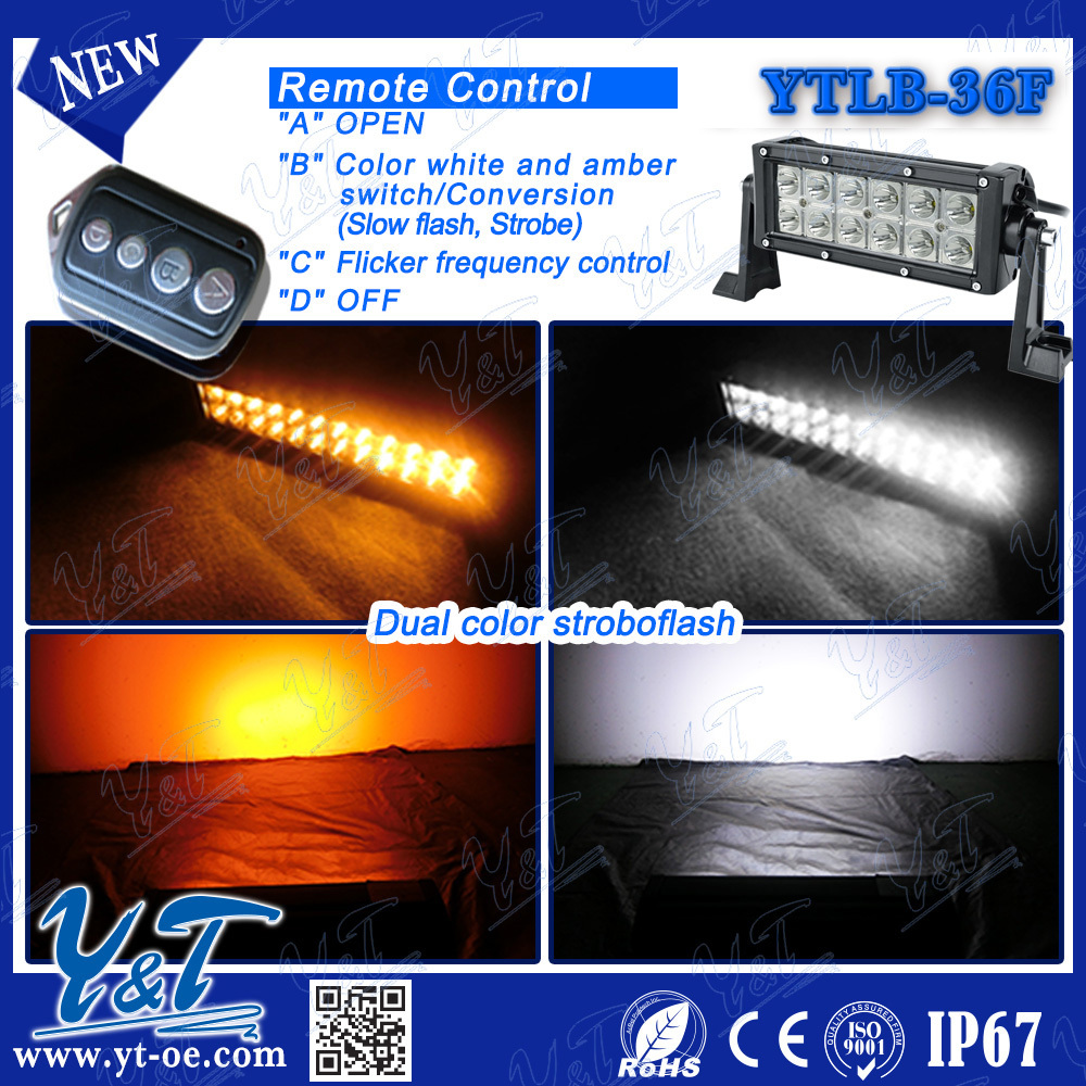 7.5inch 36w Off Road ATV police vehicle flash multi colors lighting bars for offroad