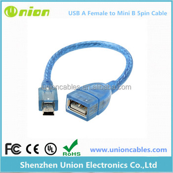 Mini USB Host Cable a Male to USB a Female, OTG Adapter
