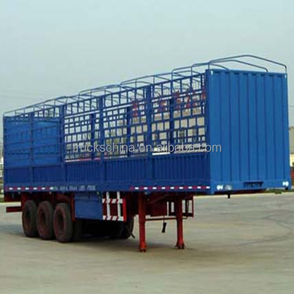 China Brand Cheap 12 wheels 3 axles fence cargo semi trailer sale