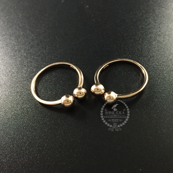 18*20mm rose gold plated 925 solid sterling silver fashion women double ball adjustable ring DIY supplies jewelry 1216001