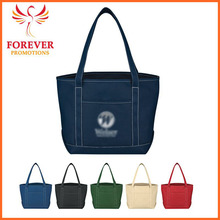 Organic Cotton Canvas Tote Shopper Tote Bag With Front Pocket Wholesale