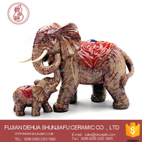 Living room ornament fambe ceramic elephant mother and son statue sets