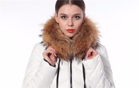 2016 New Design Cheap Ladies Long Down Jacket With Racoon And Hood