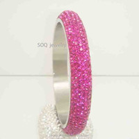 Elegant Silver Shiny Stainless Steel Party Jewelry Gemstone Bangle Bracelet for Women