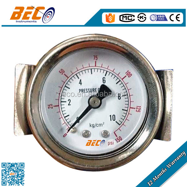 General panel mounted pressure gauge with U clamp