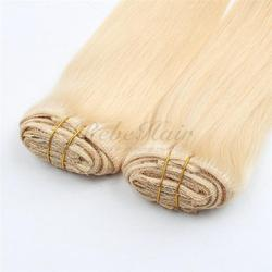 Wholesale suppliers 165g remy hair clip extensions double drawn hair weft