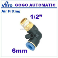 pu hose joint 6mm 1/2 threaded plastic pipe fitting