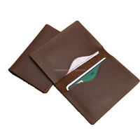 Vintage top grain leather bi-fold name cards holder credit card holders wallet minimalist wallet handmade