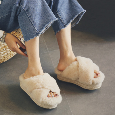 Factory Outlet Thick sole sandal shoes wool slippers sponge cake cross braided slippers/slide sandal women shoes