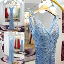Luxury Full Handmade High Quality Beaded Sequin Mermaid Evening Dresses 2016 Blue Sexy V-neck Custom Made Real Picture ML203