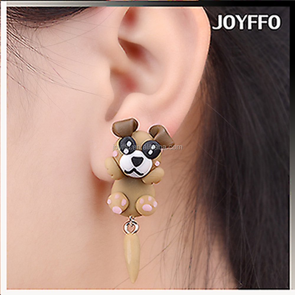 3ZH-004 Handmade Cartoon Polymer Clay Dog Fimo Stud Earrings