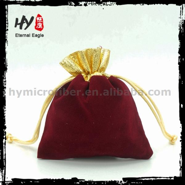 Embroidered jewely drawstring bags, logo velvet pouch, fashion travel jewellery bag