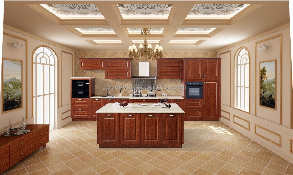 Wenge wood design traditional Kitchen Cabinet with precut granite countertops