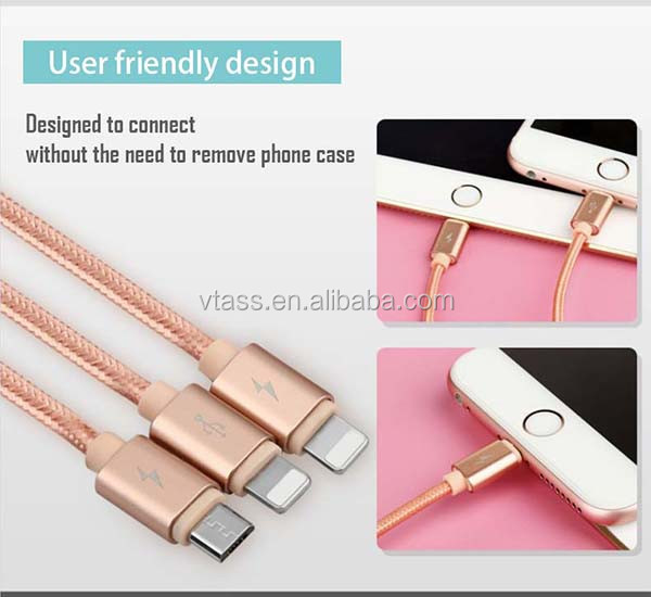 Hot selling Multi-function colorful micro 8 pin 3 in 1 USB cable micro usb data charging cable