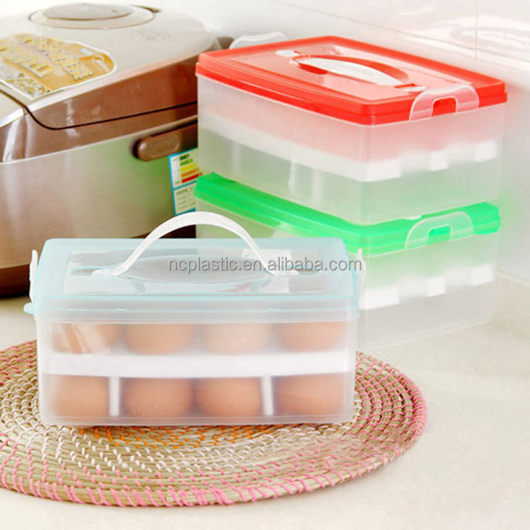 24 Eggs Holder Food Storage Container Plastic Refrigerator Egg Storage Box