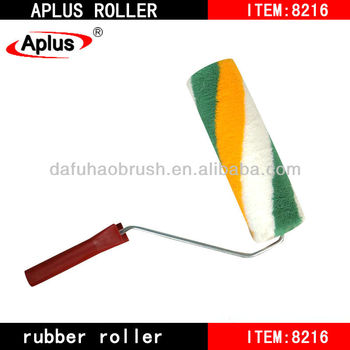 Paint roller with yellow and green stripe
