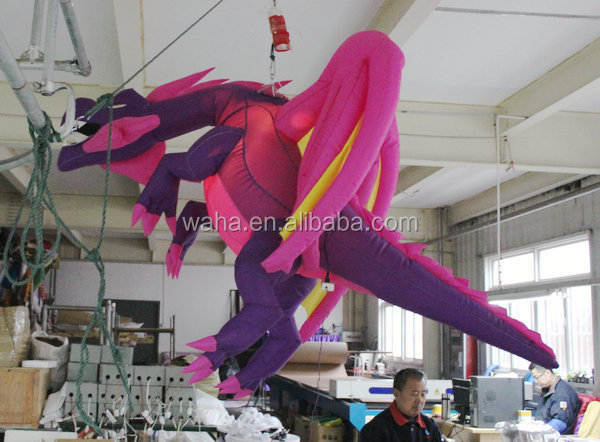 hanging inflatable giant dragon pink and purple color