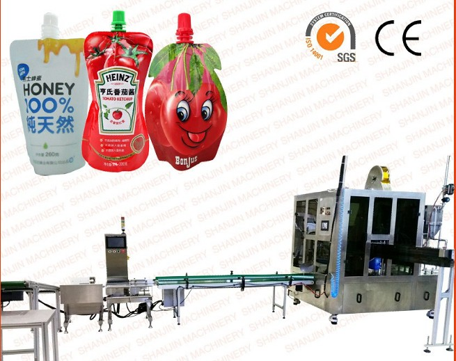 saucer juice milk honey stand up spout pouch filling  capping machine