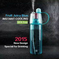 Custom summer skin care cool mist spray water bottle plastic water bottle with straw