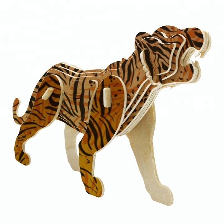 3D Puzzles Child Assembly DIY Education Toy for 3D Wooden Model Puzzles Of Animals Tiger