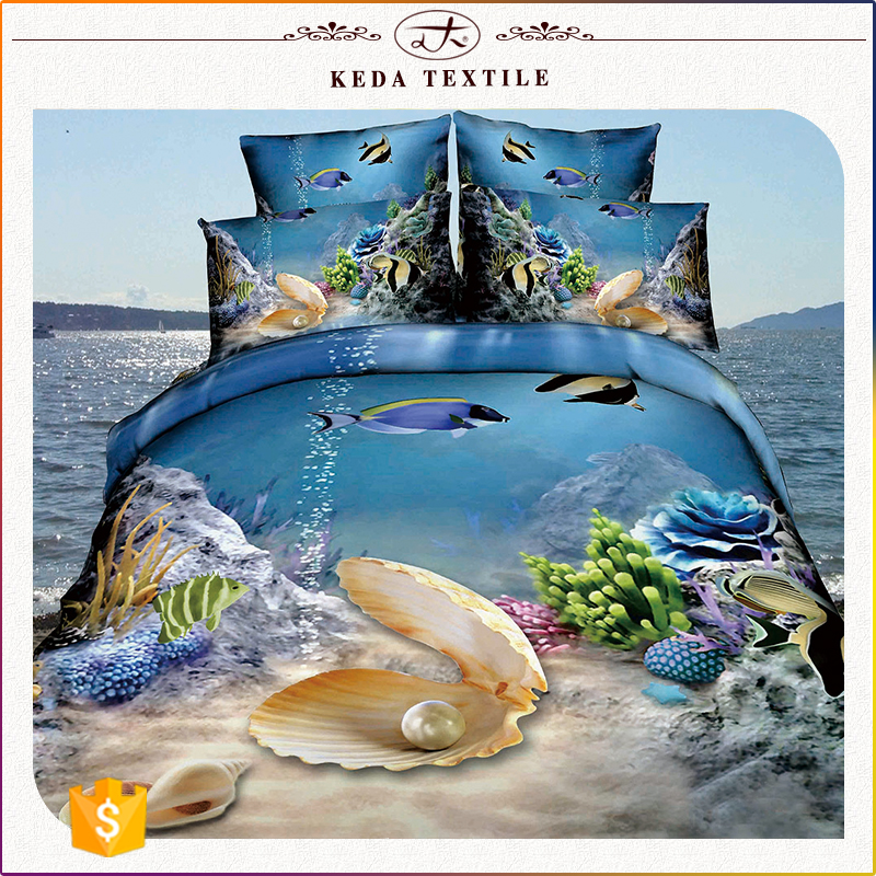 China suppliers full king queen twin size bedding set home containers ocean 3d bed cover manufacturer
