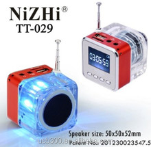 Mini music car speaker manual with led light+TF card+FM radio NiZHi TT-029