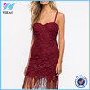 Yihao Latest Designs Girls 2016 Wine Lace Party Wear Dress Ladies Casual Clothes Fashion Evening Dresses For Women