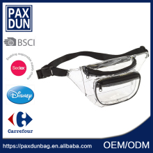 Cheap Transparent PVC Clear Waterproof Pack Cycling Waist Bag 3 Pocket Led Fanny Pack Wholesale