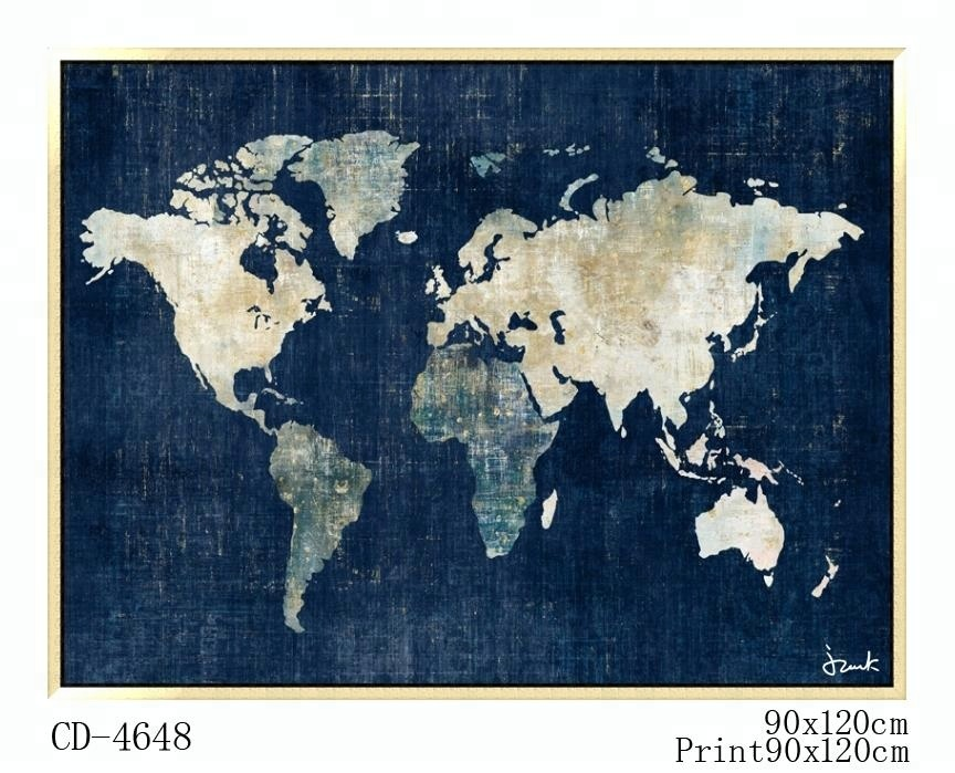 World Map Canvas Prints Framed Wall Decor For Living Room Buy