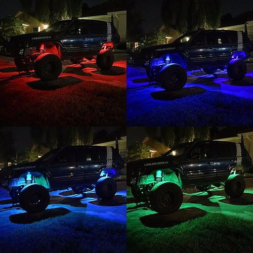 4x Pods Music Bluetooth RGB 9W LED Rock Light for jeep off road SUV Truck