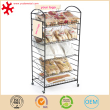 "Black Steel Bakery Display Rack w/ Wheels, 5 Shelves & 3 Sign Holders, 22.25""W"