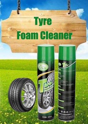 Cleaning and polishing tyres of vehicles with car washing spray like foam-forming shampoo cleaner