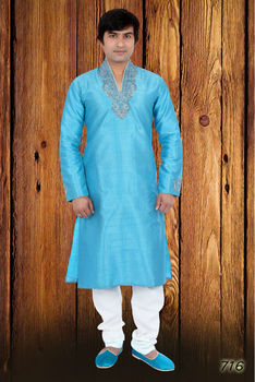 Blue Kurta Pajama with Silver Lining