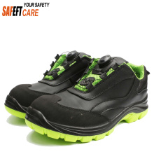 Black sole suede leather anti slip oil kitchen security guard safety shoes