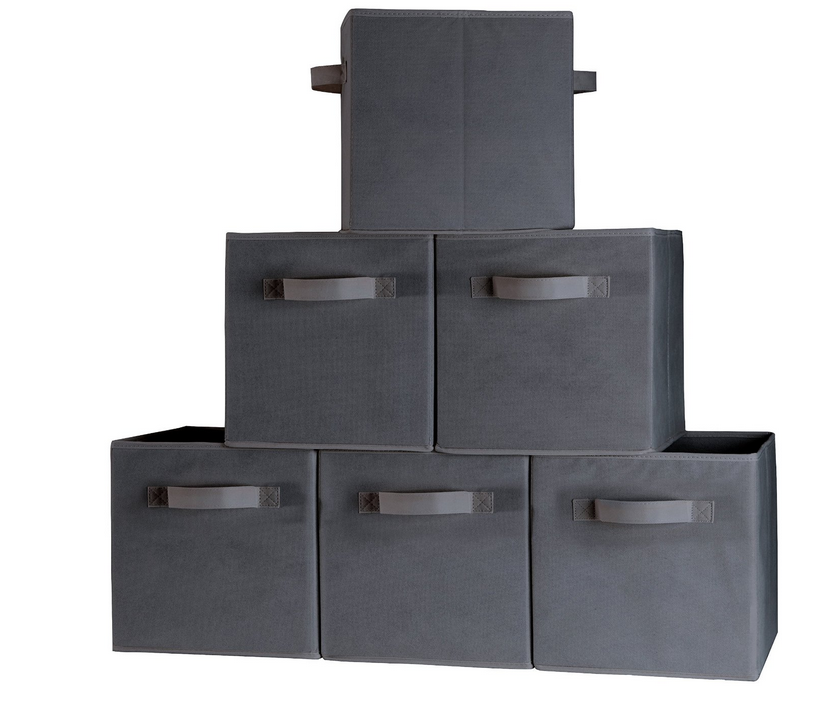 Closet Organizer Fabric Storage Basket Cubes Bins 6 gray Cubeicals Containers Drawers toy storage box