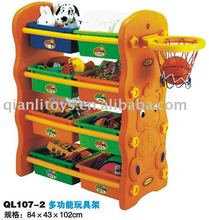 New style carton animal printing colorful plastic 3-tier toy storage shelf with basketball hoop