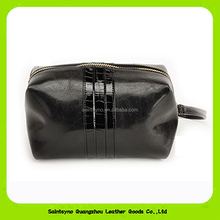 15017 2016 Newly double zipper ladies leather cosmetic bags make up case with wristlet