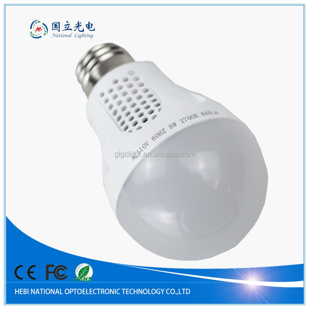 Energy Saving Led Bulb Made in China ,Dimmable Auto A60 E27 Led Bulb with Battery