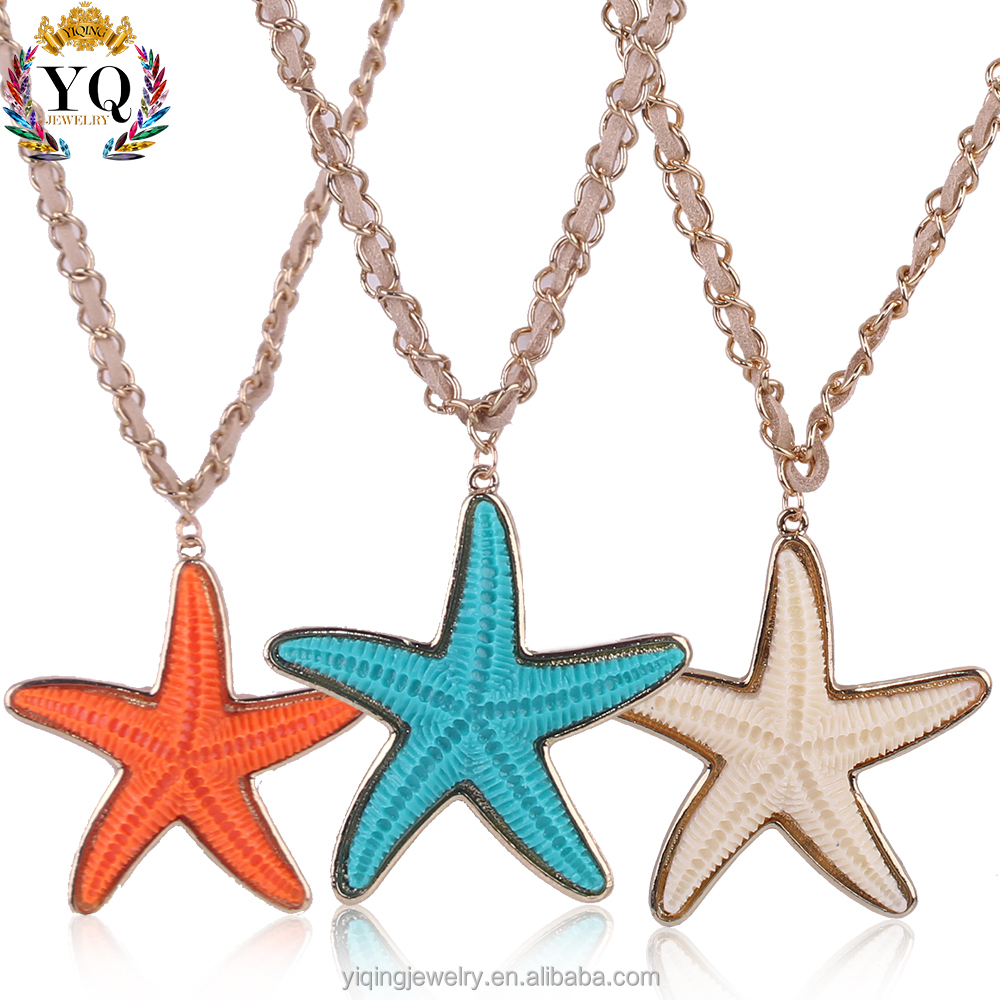 PYQ-00151gold plated colorful star pendant shape resin starfish charm leather chian pendant