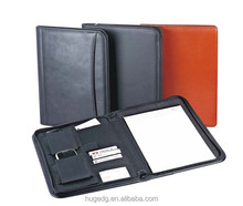 Office Folio Organizer PU Leather Business Portfolio with Zippered Closure
