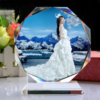 round crystal glass photo picture frame for souvenir