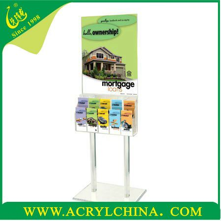 Acrylic Floor Stand Add-On Brochure Holders clear acrylic floor frame displays