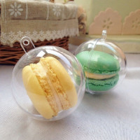 One-time 5cm diameter mini clear plastic round macaron packaging box wholesale