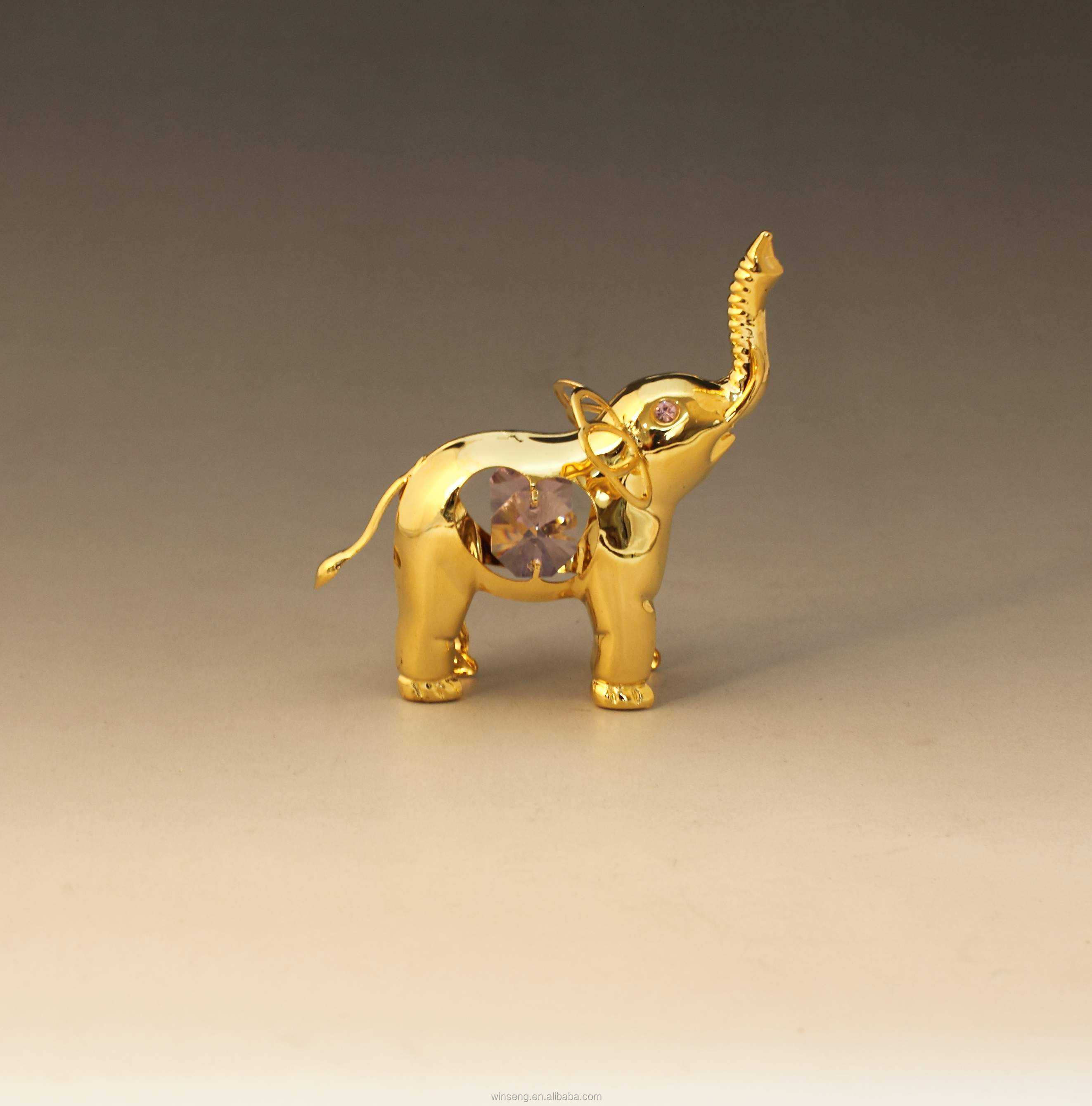 24k Gold Plated Decorative Elephant Stand For Home Decor