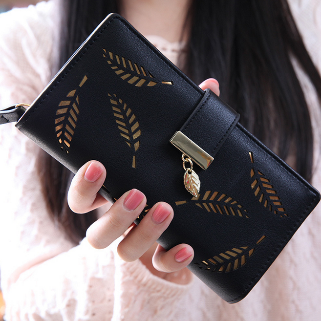 2016 American Hot Sale Long Women Flat Clutch Wallets Soft Hollow Leaves Leather Pu Card Holder Unique Money Bag Purse