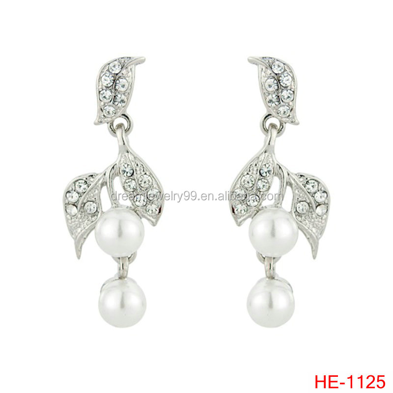 leaf earring jewelry fashion silver fresh new girl accessories vine of pearl earrings