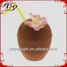 hawaiian plastic straw and flower coconut cup