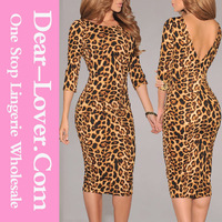 2015 New Korean Dress Leopard Print Low V Back ladies Fashion Dresses with Pictures